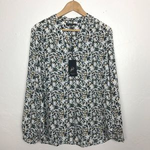 NWT Adrianna Papell Flowered Women's Blouse Size M